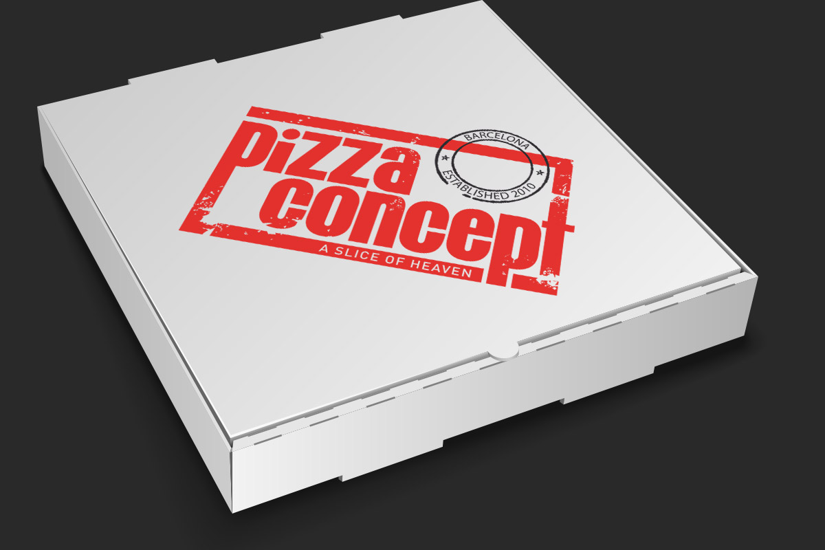 Pizza box with logo
