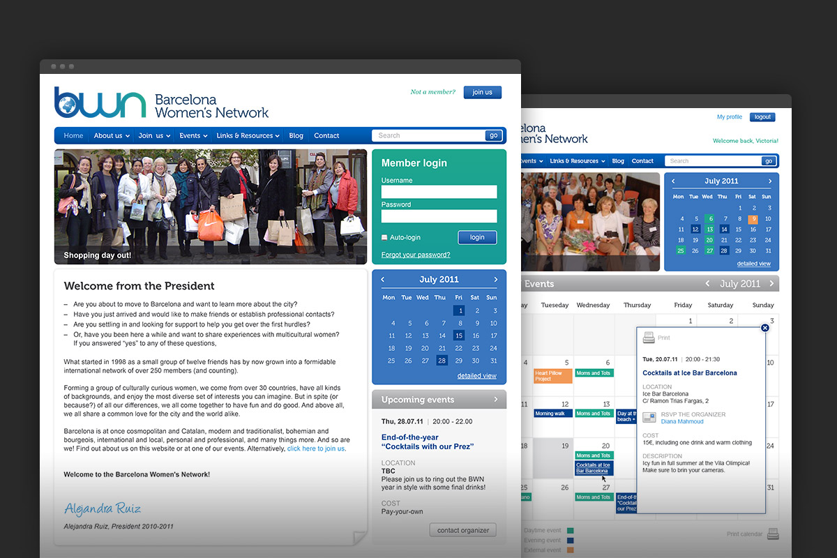 BWN homepage and calendar