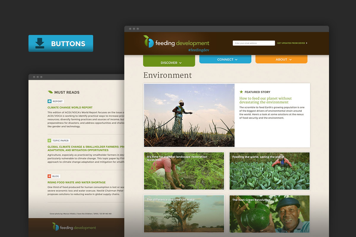 Devex Feeding Development Campaign website