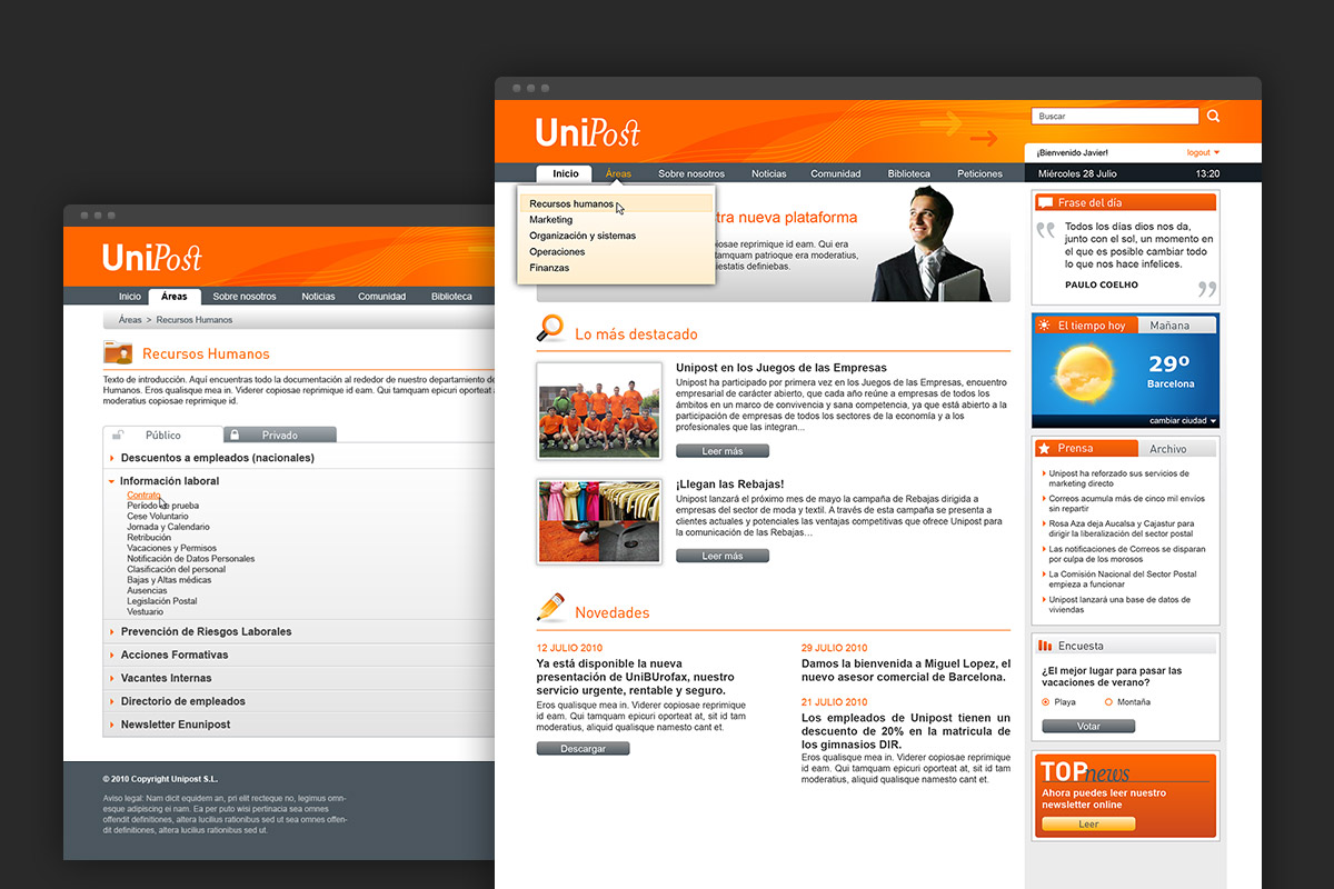 Unipost intranet site